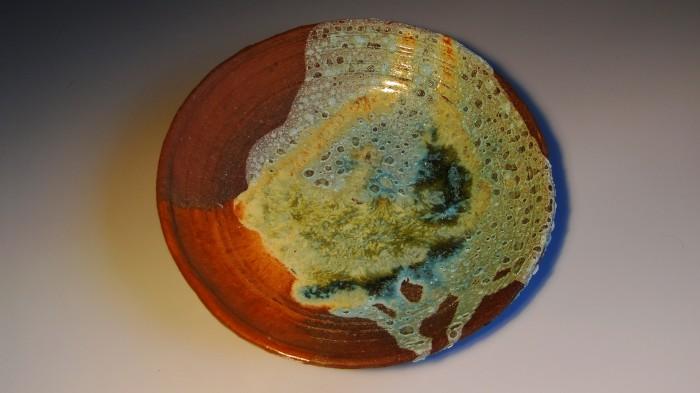 """Kolorowy talerz ze szkliwem """"lawa"""""""