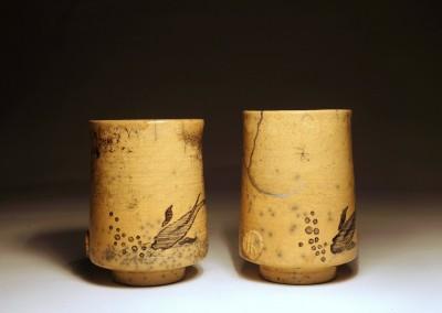 Komplet czarek do herbaty – ręcznie malowane, zdobione kintsugi #96