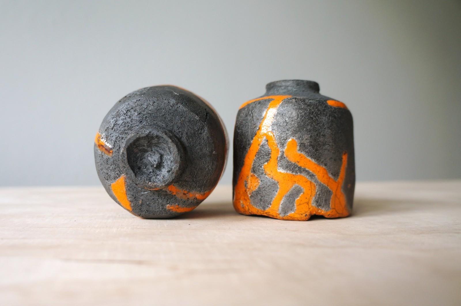 Yunomi – zestaw dwóch pomarańczowych czarek do herbaty #113 i #114