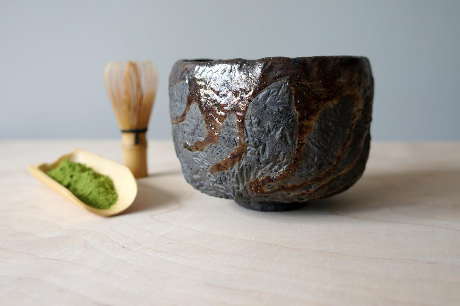 Chawan – ręcznie lepiona brązowa czarka do herbaty matcha #109