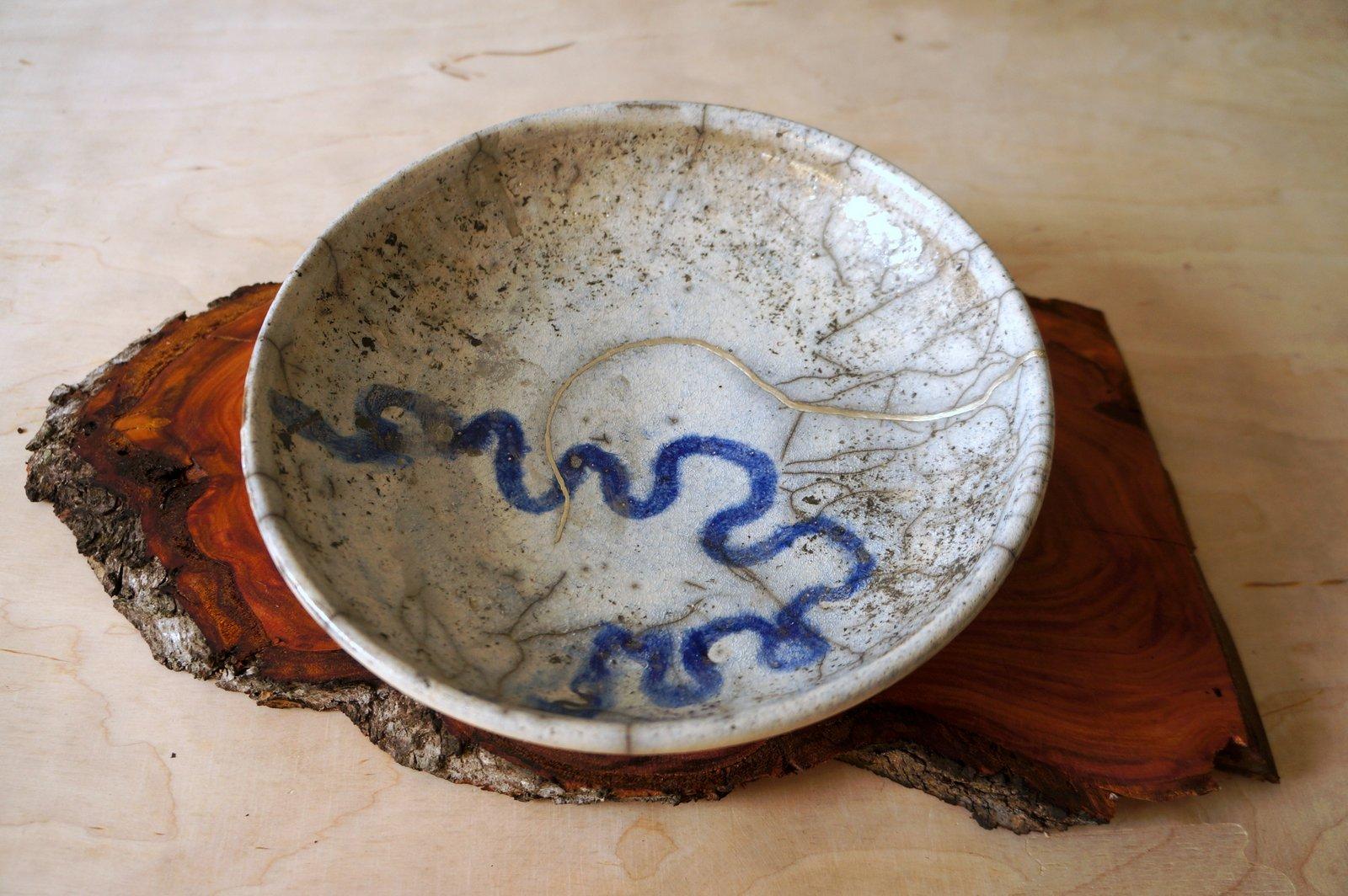 painted kintsugi plate