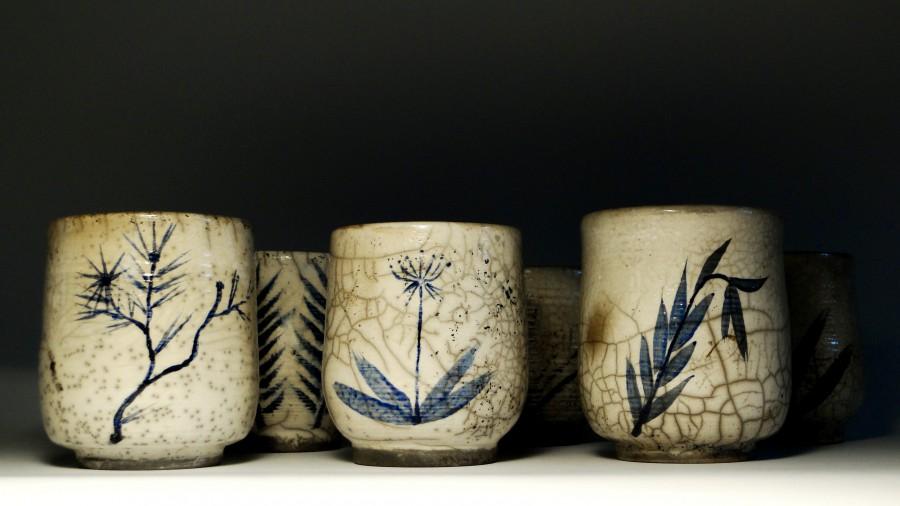 Komplet ręcznie malowanych czarek do herbaty