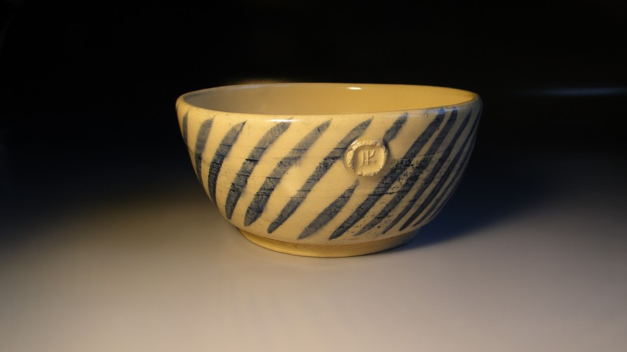 Bowl with blue strips, Mojaceramika.pl